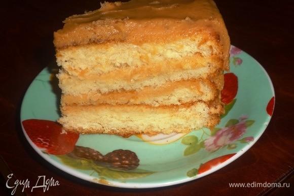 Готовый торт разрезать на кусочки и подать к чаю или кофе. Угощайтесь! Приятного аппетита!