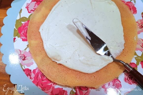 Начинаем сборку торта. Вы можете обрезать края и использовать их для украшения. А можно оставить узорчатую «юбочку» блинов — как вам больше нравится. В данном случае я обрезала края и использовала их для украшения торта. Выкладываем на подложку или блюдо первый блин и смазываем кремом. И так поступаем со всеми блинами.