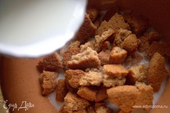 Смочить теплым молоком или сливками. Количество зависит от впитываемости сорта печенья.