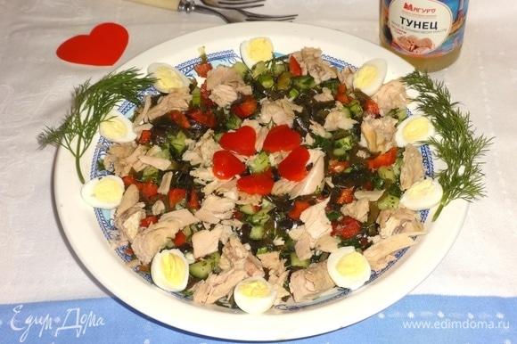 Вкусный и полезный салат готов! Угощайтесь! Приятного аппетита!