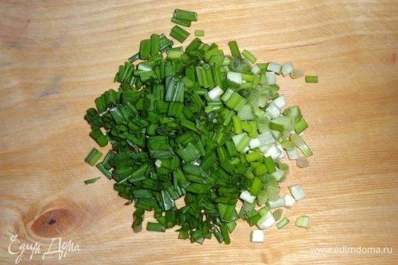 Зеленый лук помыть, обсушить, мелко нарезать. Черемшу вымыть, обсушить, мелко нарезать.