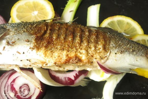 Сверху кладем рыбу. Готовила одну рыбу, продукты, как в книге, — на три.