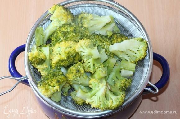 Отвариваем рис (у меня рис «Индика Brown») согласно инструкции на упаковке. Подготовим овощи: очистить, промыть, просушить. Брокколи разделить на соцветия. Затем отварить в кипящей подсоленной воде от 3 до 5 минут. Воду слить.