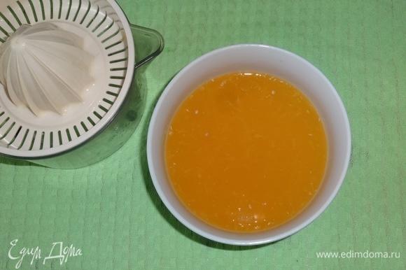 Из двух других апельсинов выжать сок.