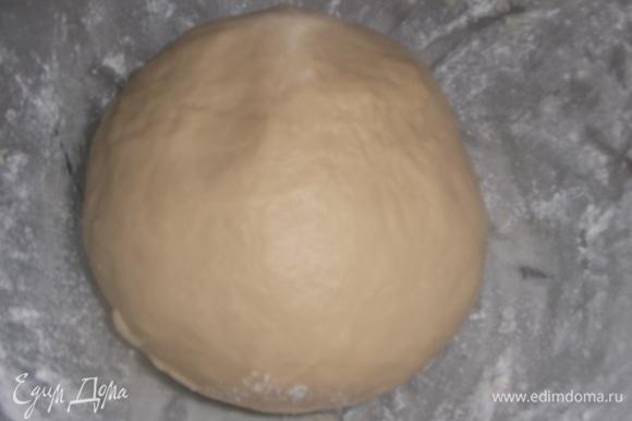 Замешивать тесто в течение 10 минут. Накрыть пленкой. Оставить для подъема в теплом месте часа на 1,5.