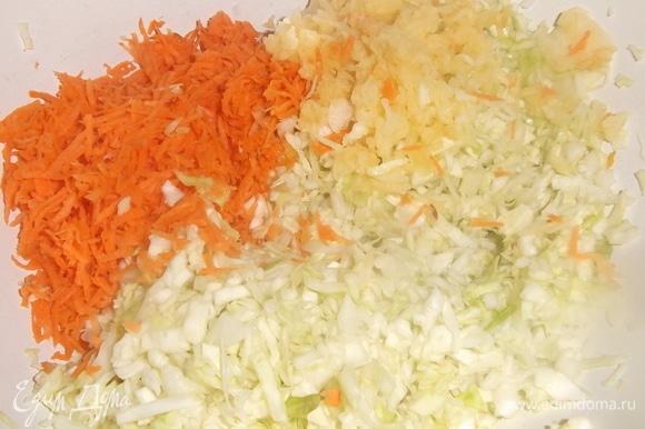 Капусту мелко нашинковать, посолить, помять руками. Добавить натертые на мелкой терке морковь и яблоко. Добавить сахар. Перемешать.
