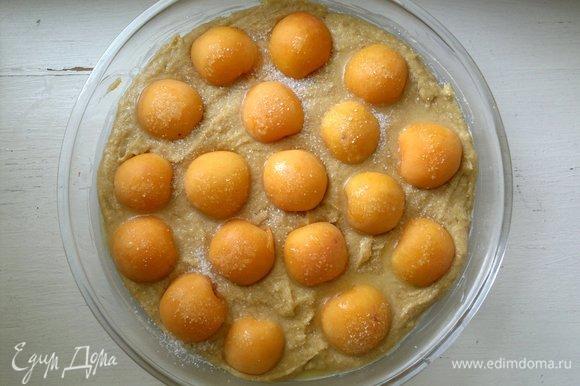 Абрикосы выложить на тесто срезом вниз, слегка утапливая. Полить растопленным сливочным маслом, посыпать сахаром. Поставить пирог в духовку, разогретую до 180°C, на 30–35 минут. Ориентируйтесь на свою духовку. Проверять готовность деревянной палочкой: если остается сухой после вытаскивания из пирога, значит, пирог готов.