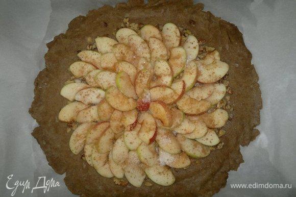 На орехи красивыми рядами выложить дольки яблок. Посыпать сахаром и корицей.