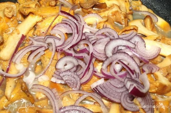 Добавить к грибам лук и готовить, пока лук не станет мягким. Солим и перчим по вкусу.