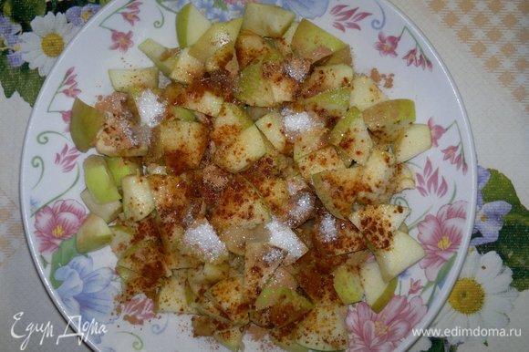 Для начинки яблоки вымыть, обсушить. Удалить семенную коробочку, нарезать яблоки кубиками. Сложить яблоки в миску, полить лимонным соком, посыпать сахаром и корицей, перемешать.