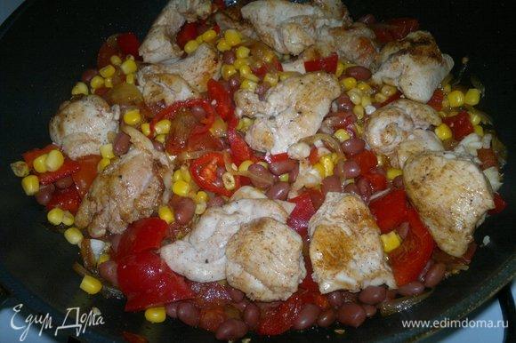 Добавить в сковороду обжаренное куриное филе, аккуратно перемешать.