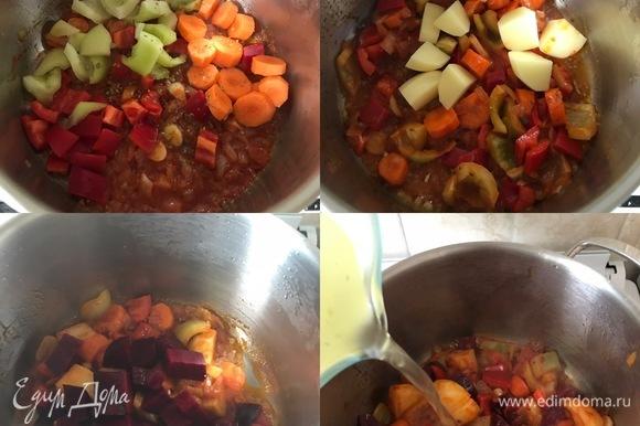 Добавить морковь, болгарский, картофель, орегано, перемешать и тушить 1–2 минуты. Потом добавить свеклу и опять потушить 1–2 минуты. Затем добавить бульон (бульон должен покрывать овощи), лавровый лист и варить 15 минут.