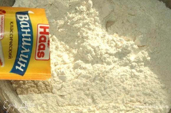 В оставшуюся муку добавить сахарную пудру Haas, соль, ванилин Haas и хорошо перемешать.