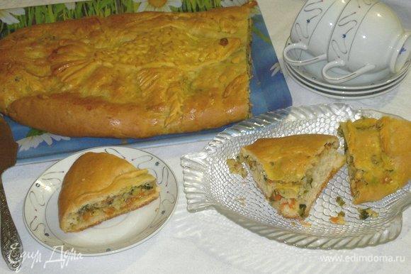 Подать кулебяку к столу, разрезать на порции. Очень вкусно сочетается с первыми блюдами, салатом из свежих овощей, а также чаем или молоком.