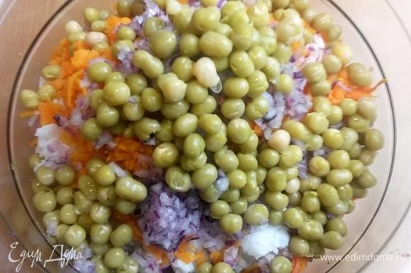 С горошка слить воду, пересыпать в салат. Вместо горошка можно только кукурузу.