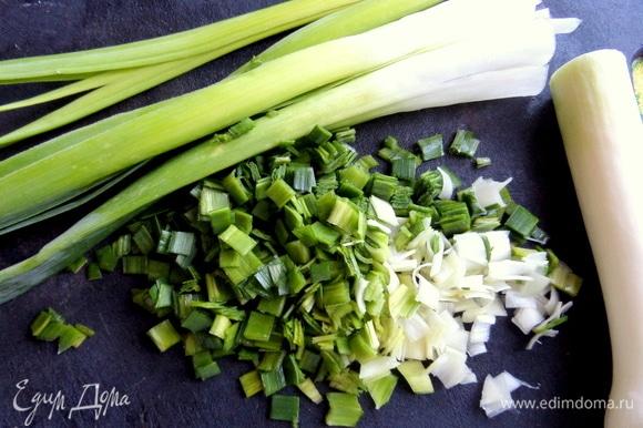 Нарезать порей или зеленый лук. Укроп, если есть.