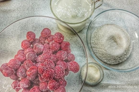 Готовим вишневый мусс. Желатин ставим набухать в 40 мл воды.