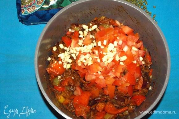 Добавляем помидоры и чеснок к остальным ингредиентам и тушим 2–3 минуты, помешивая. Добавляем соль по вкусу.