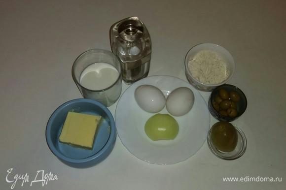 Вот все ингредиенты, которые необходимы для приготовления этого блюда. Я использовала зеленый соленый помидор, но можно взять красный соленый помидор.