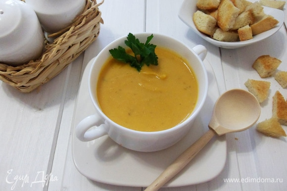 Чечевичный суп-пюре (постный вариант) готов.