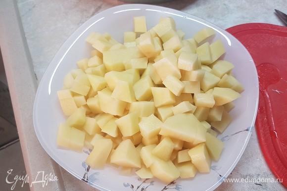 Картофель нарезать небольшим кубиком. Выложить в бульон картофель, лук и морковь. Варить до готовности картофеля.