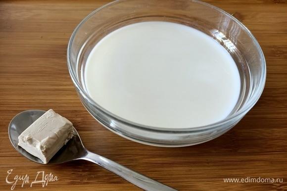 Дрожжи развести в теплом молоке.