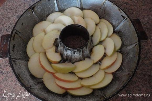 Дно формы смазать растительным маслом и посыпать панировочными сухарями или манной крупой. Яблоки выложить «чешуйкой» по кругу.