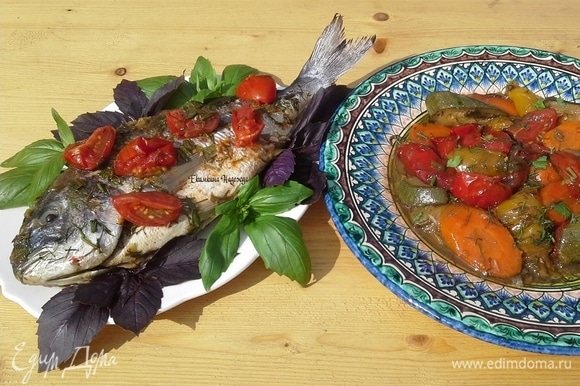 Овощи хорошо пропеклись, но не разварились. Рыба сочная, ароматная, вкусная!