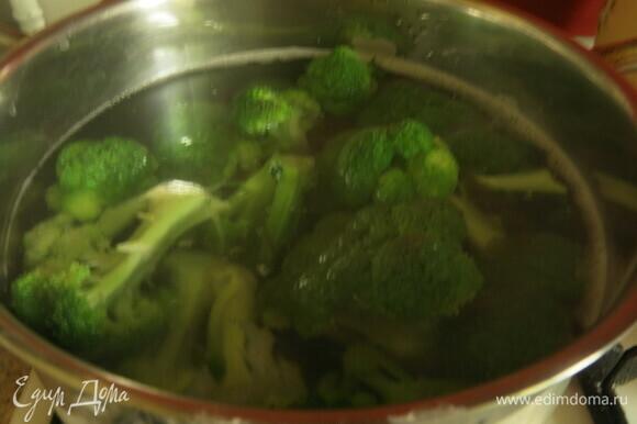 Отвариваем капусту в кипящей воде 3–5 минут. Кладем капусту в холодную воду.