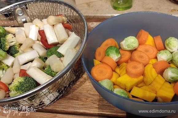 Овощи очистить, вымыть и нарезать на кусочки приблизительно одинакового размера. Овощи могут быть совершенно разными, какие есть в наличии и соответствую вашему вкусу. Я сложила отдельно те, которые будут готовится чуть дольше, — это небольшая репка, морковь и брюссельская капуста.