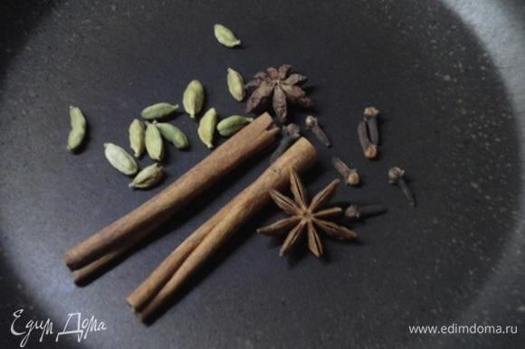 Специи выложить на сухую сковороду и подогревать до тех пор, пока не почувствуете пряный аромат.