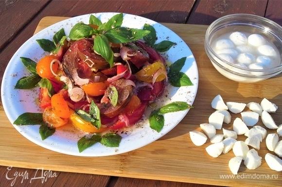 Переложите овощи на плоское блюдо горкой. Посолите, поперчите, добавьте листики базилика. Моцареллу выньте из рассола и нарежьте помельче.