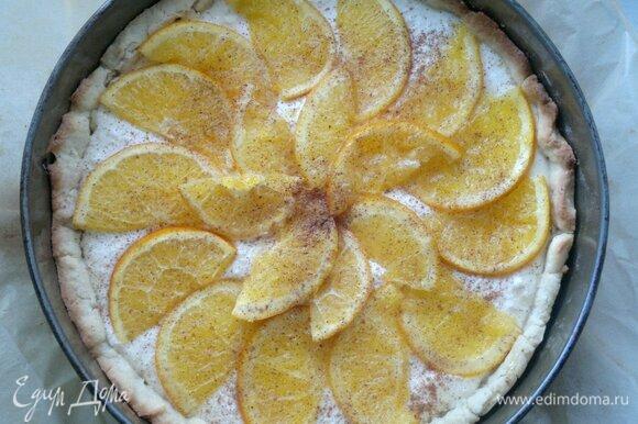 Посыпать пирог молотой корицей. Поставить форму с пирогом снова в духовку и выпекать пирог еще 25–30 мин.