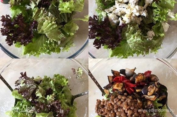 Салат крупно порвать руками и переложить в большую салатницу. Добавить чеснок (лучше выдавить через пресс), сыр, специи, масло и хорошо перемешать. Затем добавить остывшие овощи, чечевицу и еще раз аккуратно перемешать.