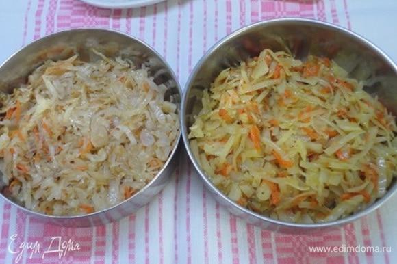 Вначале приготовим начинку. Лук нарезать мелкими кубиками и обжарить на смеси сливочного и растительного масла до мягкости. Морковь натереть на крупной терке и добавить к луку. Потушить еще минуты 3. Капусту нашинковать, слегка перетереть с солью и выложить на сковороду. Перемешать, добавить немного воды и тушить под крышкой до мягкости капусты и выпаривания лишней воды. Также готовим начинку с кислой капустой. Дайте начинке полностью остыть.
