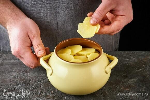 Верхним слоем выложите картофель. Накройте крышкой и поставьте в духовку, разогретую до 180°C, на 45 минут.