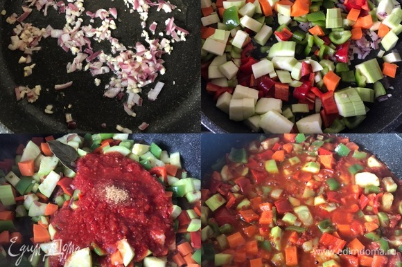 В сковороде с толстым дном разогреть масло, обжарить лук и два зубчика чеснока. Потом добавить остальные овощи, перемешать и потушить 2–3 минутки. Затем добавить томатный соус (можно заменить помидорами, которые надо предварительно пюрировать блендером), сахар, перемешать и потушить еще одну минутку. Спустя указанное время добавить воду (густоту подливки регулируйте по вкусу), лавровый лист, соль, перец, перемешать и потушить еще минутку.