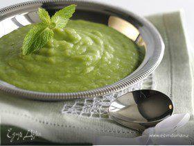 Картофельный суп с луком-пореем и зеленым горошком