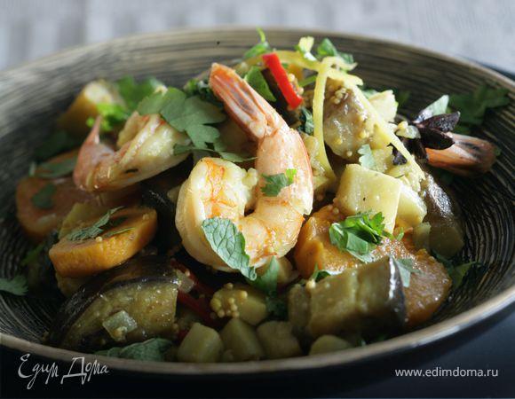 Карри из овощей с креветками