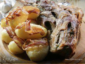 Бараний окорок с картофелем