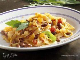 Ленточные макароны с мясным соусом и фасолью