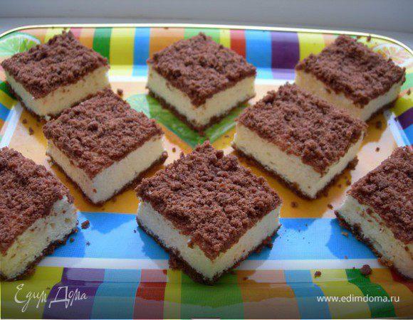 Творожно шоколадный пирог со штрейзелем