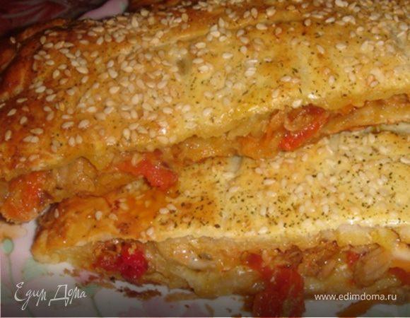 Пирог с тунцом и овощами из слоёного теста