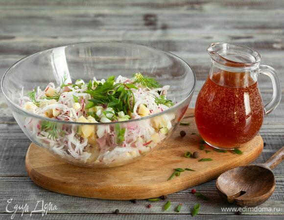 Рецепт окрошки на квасе с курицей