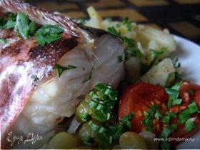 Креветочная рыба (конгрио) в винограде.