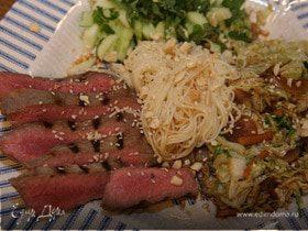 Рисовая вермишель с маринованной говядиной