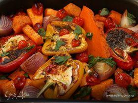 Запеченные овощи с соусом песто из грецких орехов