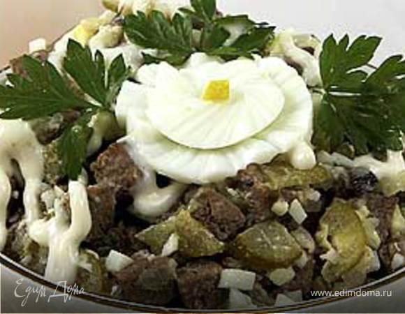 Салат из печени с грибами