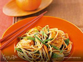 Спагетти с морскими гребешками и мандариновым соусом