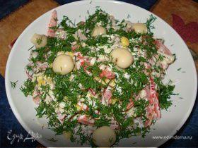 Салат с языком, овощами, грибами
